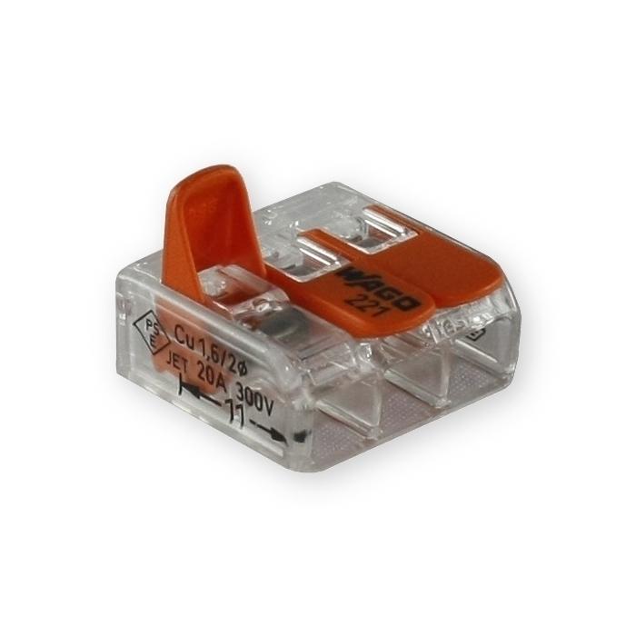 wago 3 leiter compact klemme 221 413 mit klemmb gel dosenklemme. Black Bedroom Furniture Sets. Home Design Ideas
