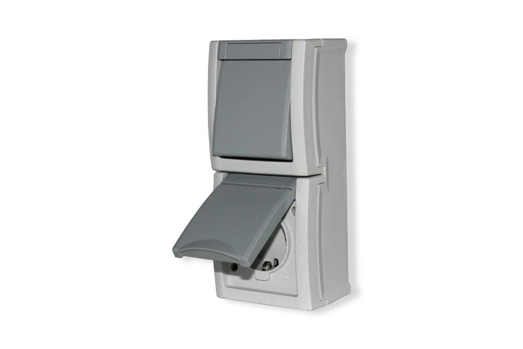 schalter steckdosen kombination feuchtraum aufputz ip54 viko. Black Bedroom Furniture Sets. Home Design Ideas